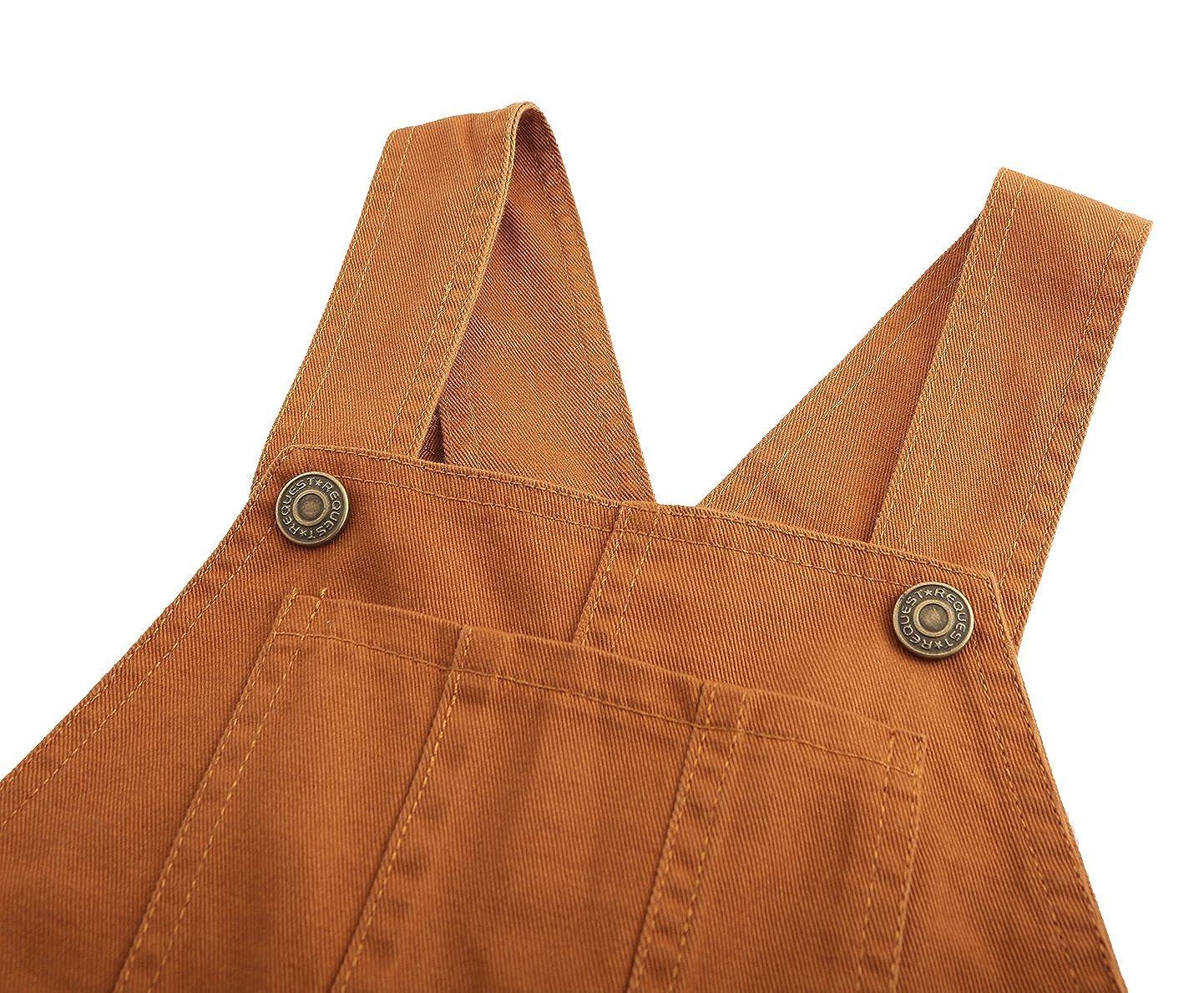 Grandwish Boys Brown Bib Overall Size 3T-10