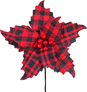 """Supla 6 Pcs Christmas Red and Black Buffalo Check Poinsettia with Red Berries Picks Christmas Tree Ornaments 10.2"""" Wide for Rustic Christmas Tree Wreaths Garlands Winter Wedding Holiday Decoration"""