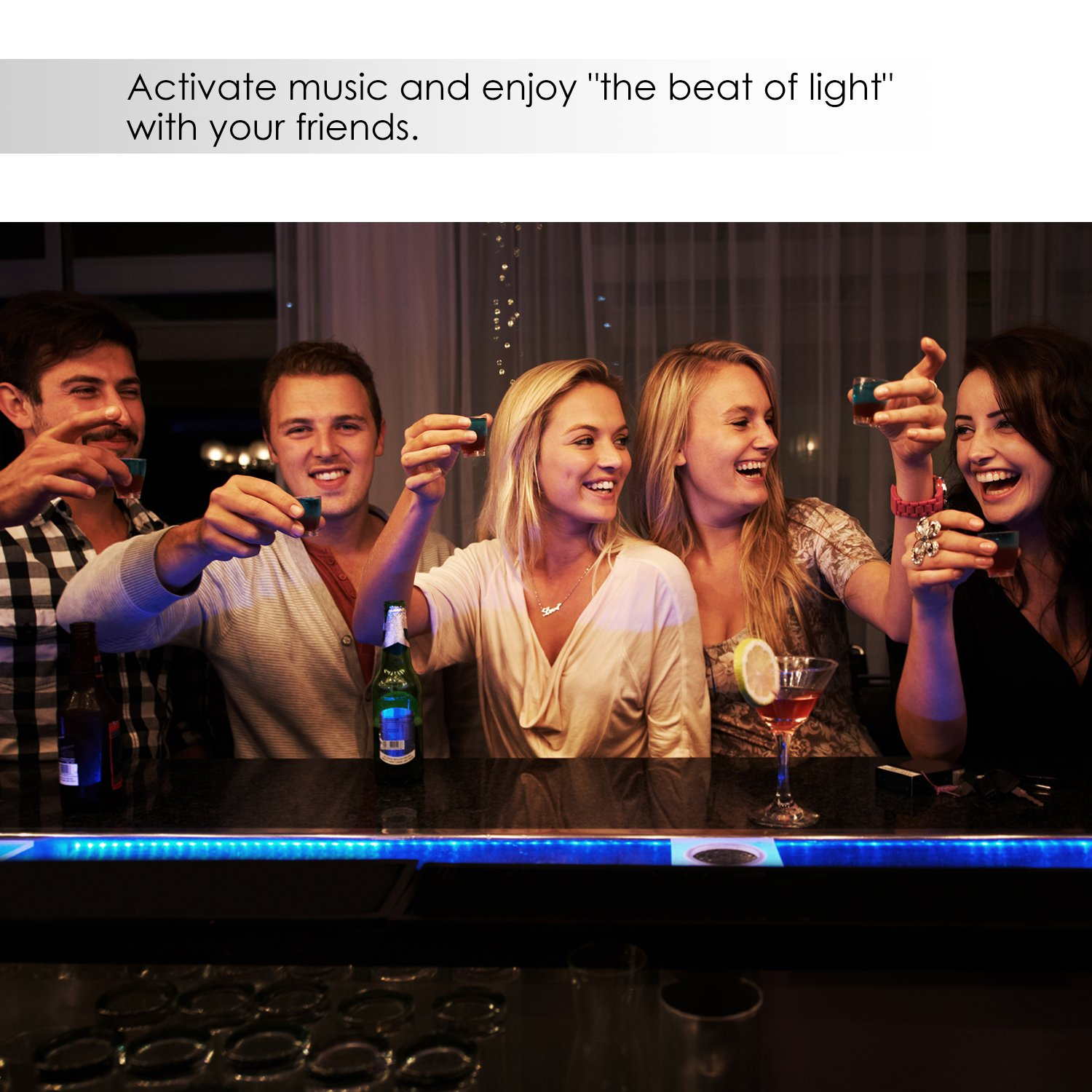 YIHONG LED Strip Lights Compatible with Alexa Google Home 16.4ft 150LEDs RGB Wifi LED Light Strip Non Waterproof LED Tape Ribbon by YIHONG (Image #4)