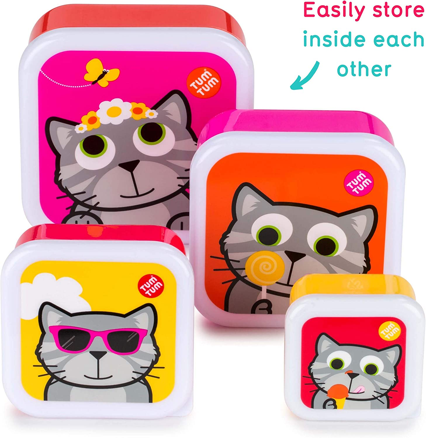 TUM TUM Nesting Childrens Snack Boxes Lunch Boxes for Kids Bluebell The Cat BPA Free