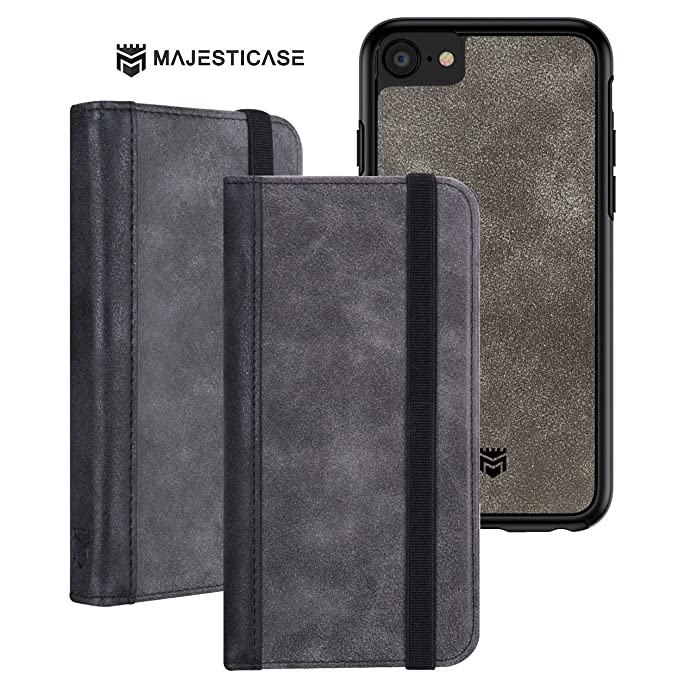 best service 2c3e6 514a7 Majesticase iPhone 7 Premium Suede Leather Wallet Case + Detachable  Removable Magnetic Hybrid Protective Shell Cover & Elastic Band Closure  [Book ...