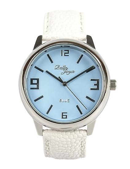 Bella joya Mujer Reloj Blue, estructura de raya blanca de correa de piel auténtica: Amazon.es: Relojes