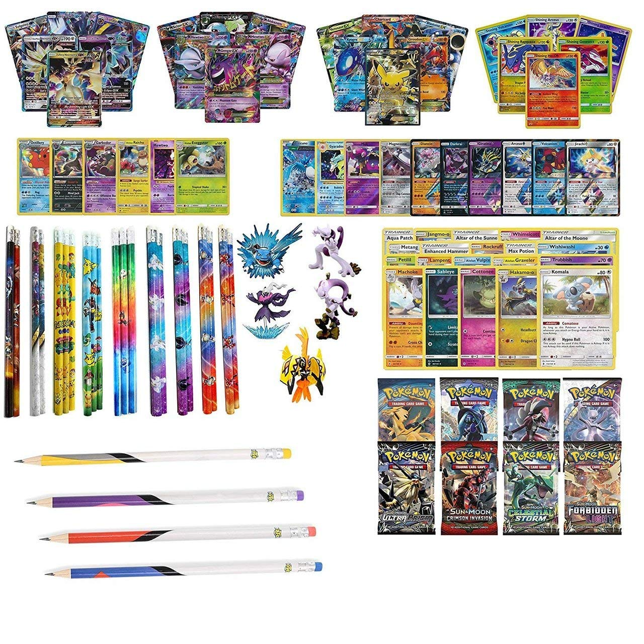 Playoly Pokemon Premium Collection 100 Cards with GX Mega EX Shining Holo 10 Rares 4 Booster Pack - Figure -12 Pokemon Pencils