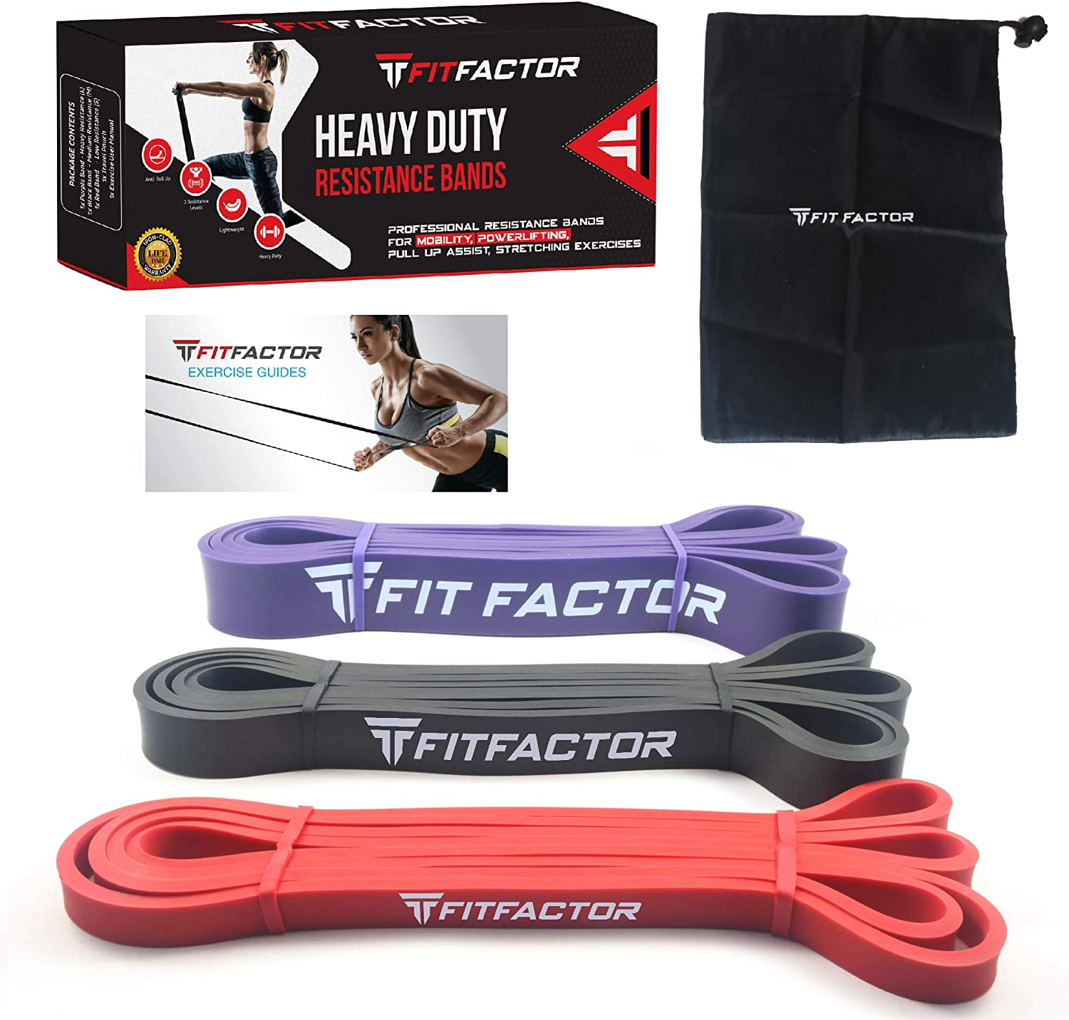 FitFactor Pull Up Assist Band, 3 Pack Resistance Loop