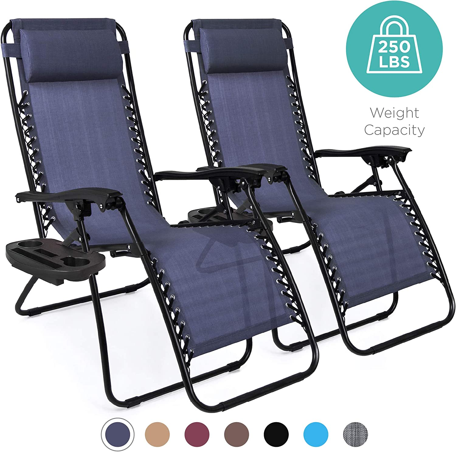 Best Choice Products Set of 2 Adjustable Zero Gravity Lounge Chair Recliners for Patio, Pool wCup Holders Blue