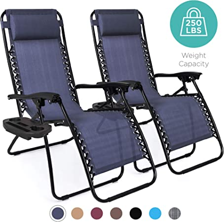 Amazon Com Best Choice Products Set Of 2 Adjustable Zero Gravity Lounge Chair Recliners For Patio Pool W Cup Holders Blue Garden Outdoor