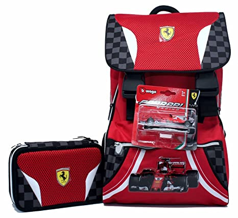 ec5ad38534 Promo Scuola Zaino Estensibile + Astuccio 3 Zip Ferrari Kids: Amazon ...