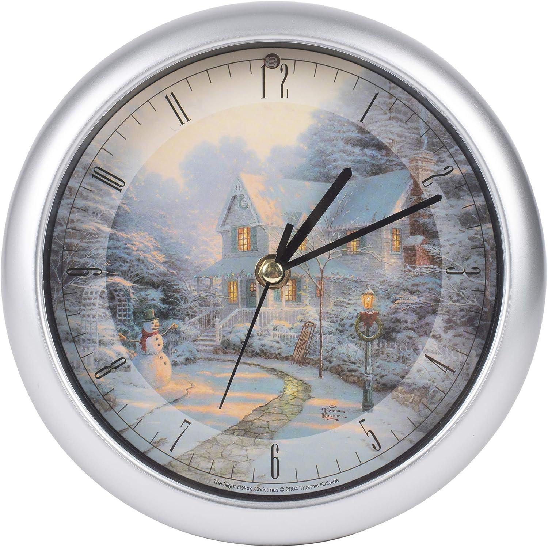 "Mark Feldstein & Associates Thomas Kinkade The Night Before Christmas Musical Musical Christmas Carol Clock-8"""