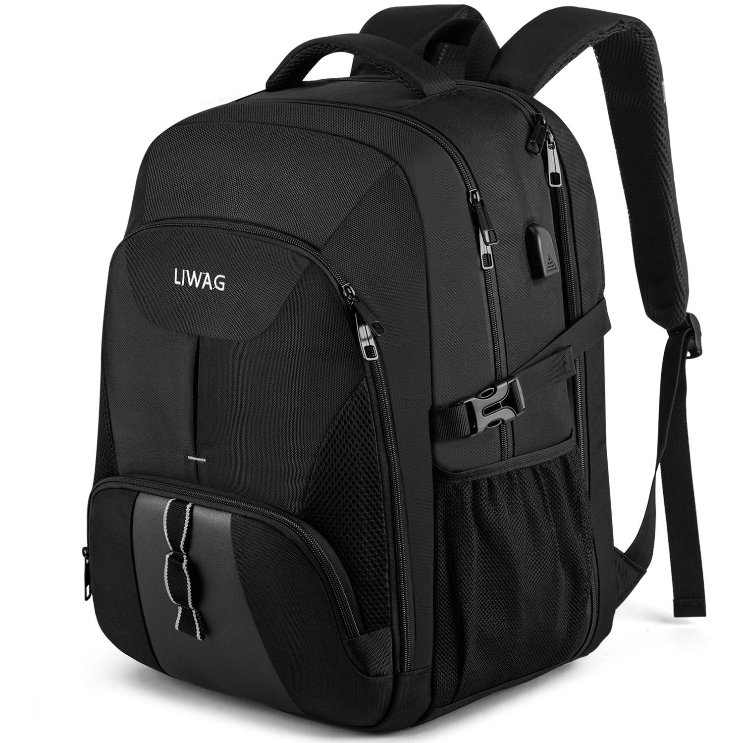 Extra Large 50L Travel Laptop Backpack,Water Resistant Work Backpacks Bag with USB Charging Port, Anti Theft Big Business Backpack, 17 inch Computer Rucksack for Men Women College School Gift -Black
