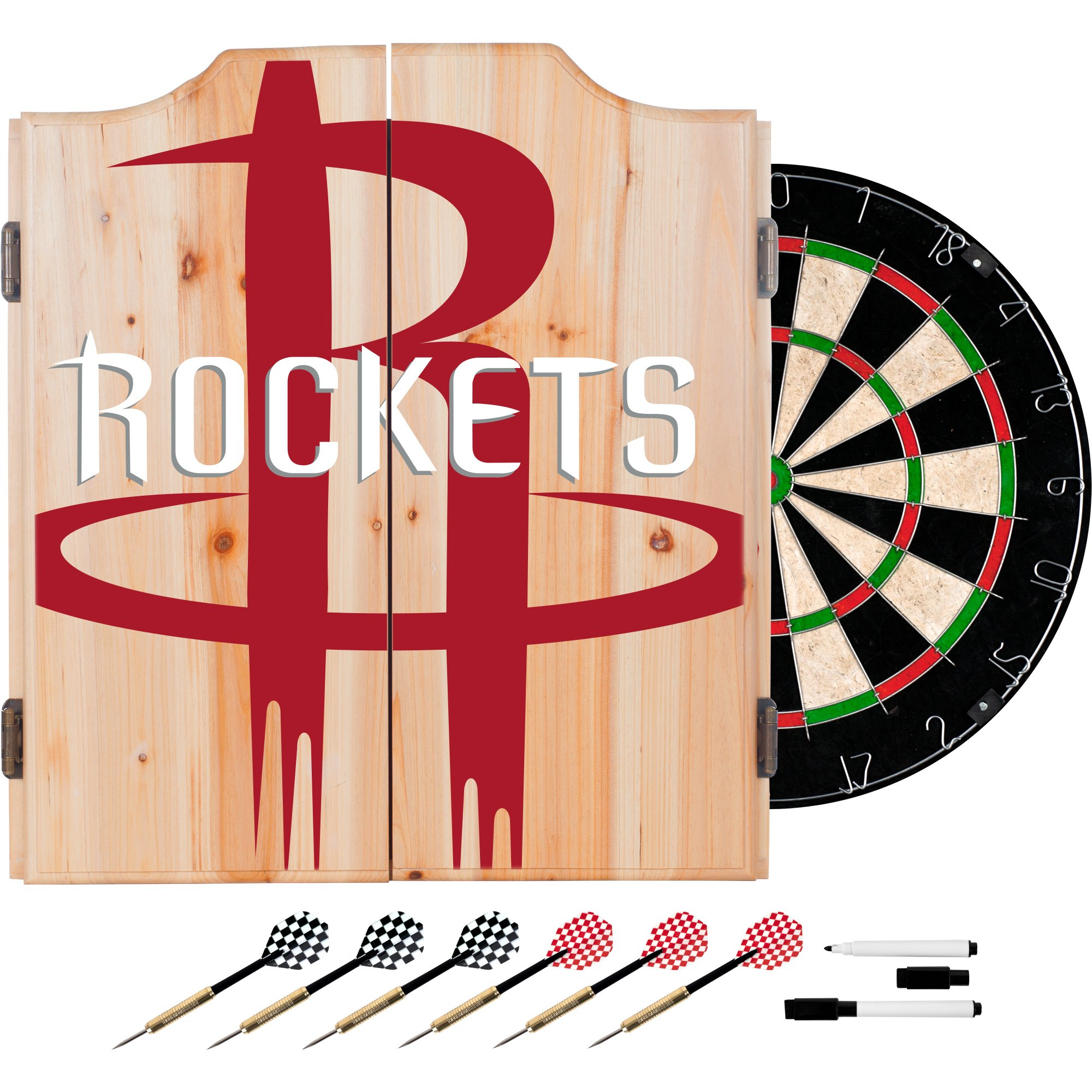 Trademark Gameroom NBA7010-HR2 NBA Dart Cabinet Set with Darts & Board - Fade - Houston Rockets