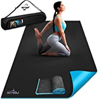 Sensu Large Yoga Mat - 6' x 4' x 9mm Extra Thick Exercise Mat for Yoga, Pilates, Stretching, Cardio Home Gym Floor, Non…