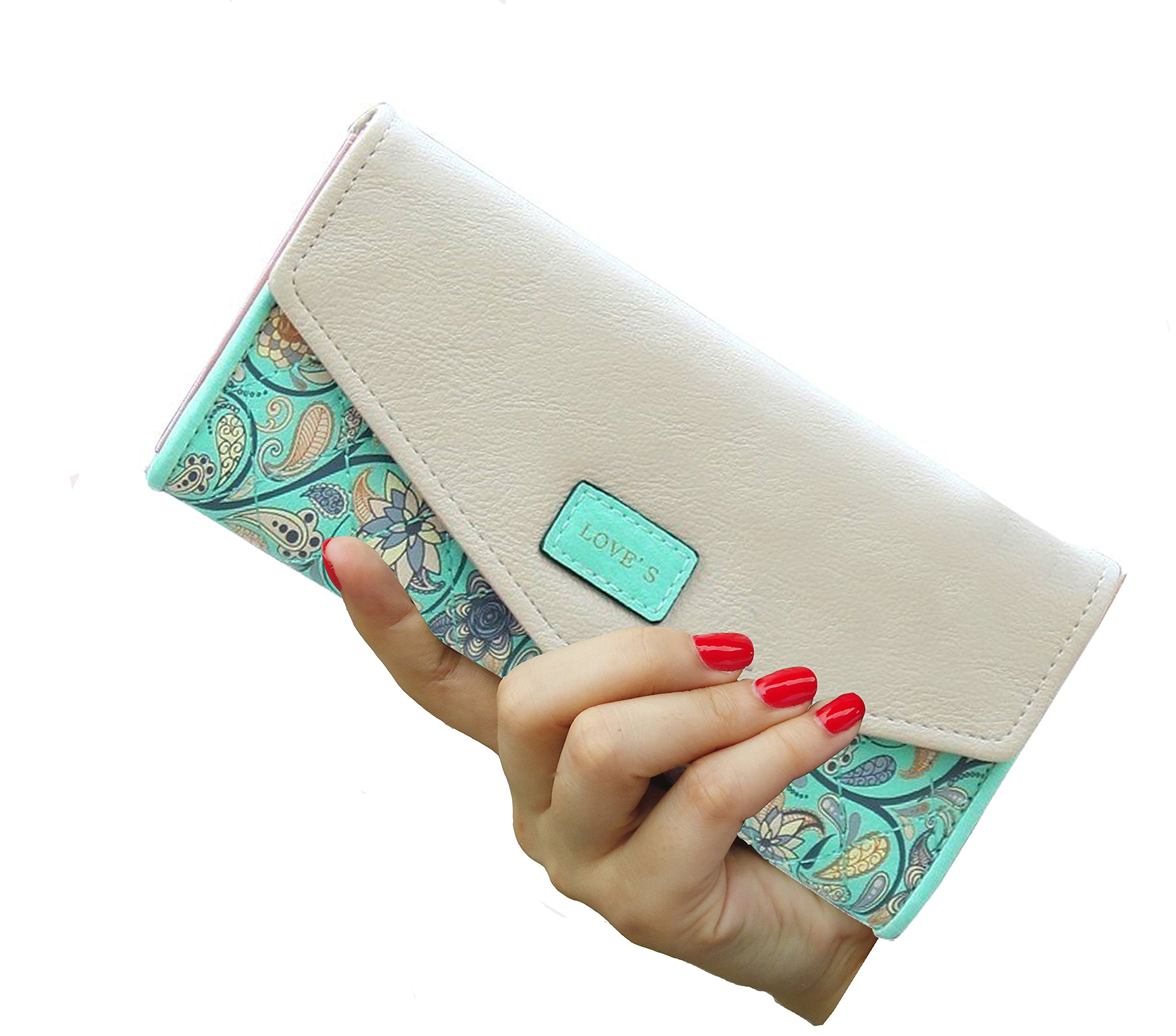SeptCity Womens Wallet Floral Leather Western Bifold Clutch-Green
