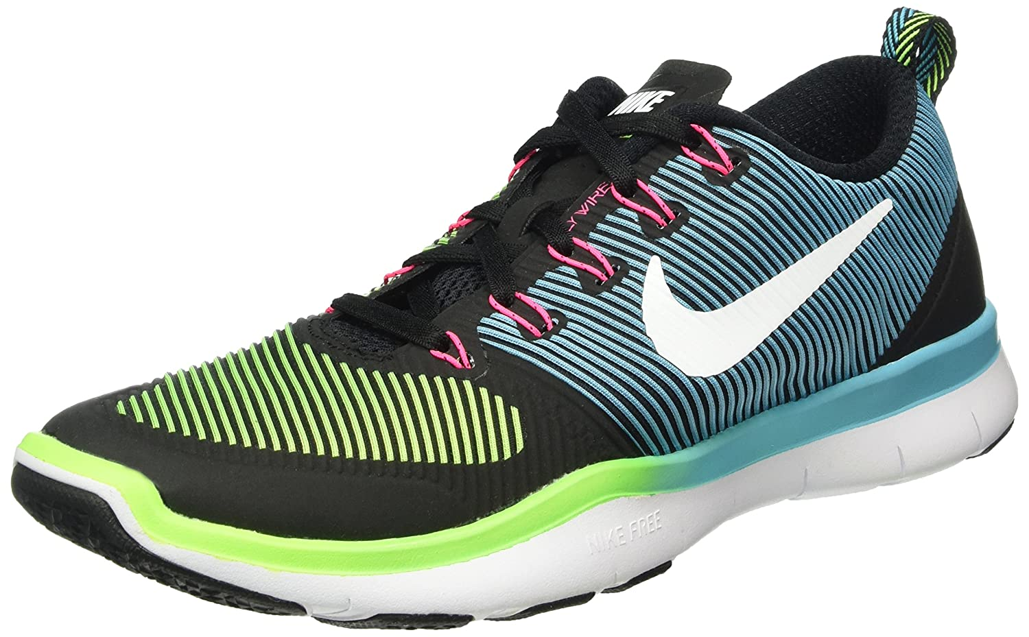NIKE Men's Free Train Versatility Running Shoes B014GDR31U 9.5 D(M) US|Black/White/Electric Green/Hyper Pink
