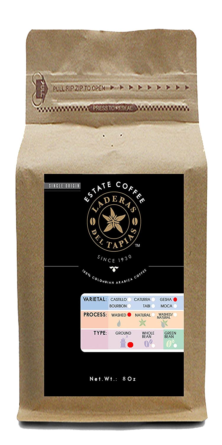 Premium Gesha Coffee Ground 8 oz - Estate Laderas del Tapias Colombia Image