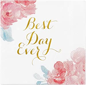 X&O Paper Goods Floral 'Best Day Ever' Beverage and Cocktail Napkins, 40pc, 5'' W x 5'' L