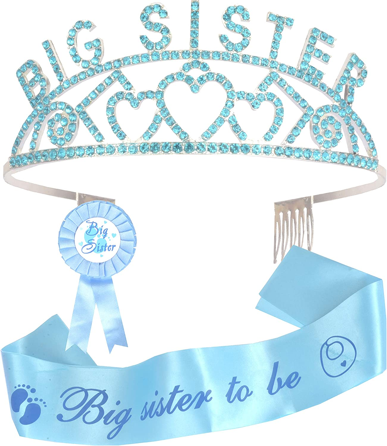 Amazon Com Big Sister Big Sister Crown Sash And Pin I Am Going To Be Big Sister Daughter Get Promoted To Big Sisters Idea Gift Set Satin Big Sister To Be For Baby