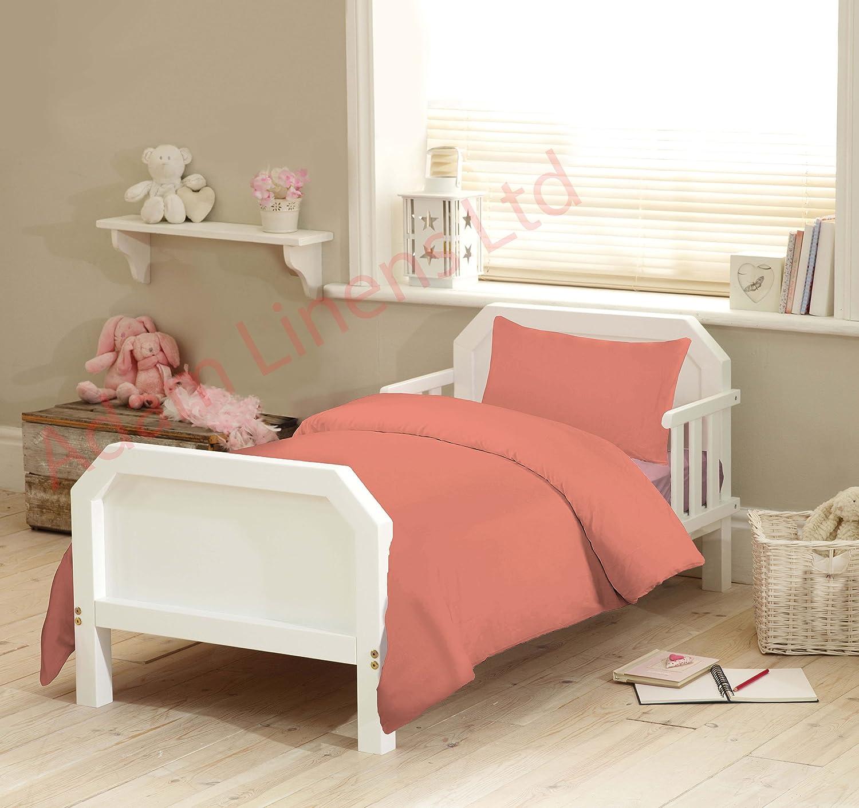 Adamlinens 2pc 100% Pure Egyptian Cotton baby cot bed duvet/quilt cover Plain + Pillowcase Toddler 300 Thread Count Egyptian Cotton Size: 120x150 cm Single Colour: Peach Pink Adam Linens