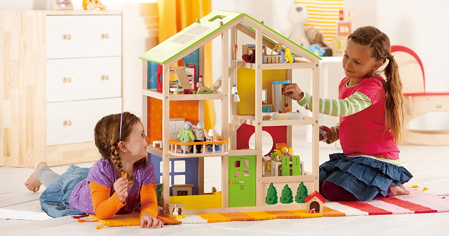 $115.69 Hape All Seasons Kid's Wooden Doll House Furnished with Accessories