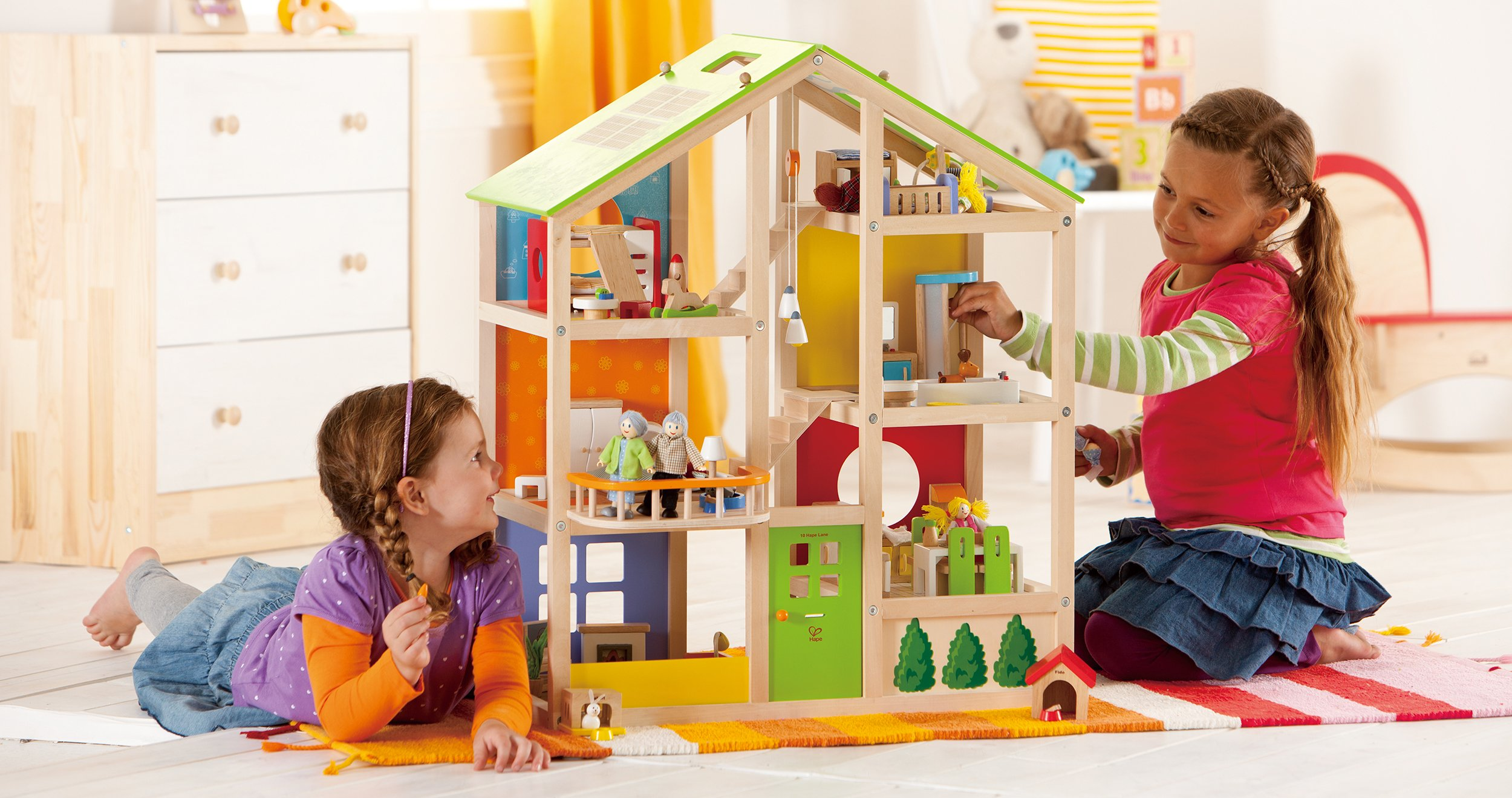 Hape All Seasons Kid's Wooden Doll House Furnished with Accessories by Hape (Image #2)