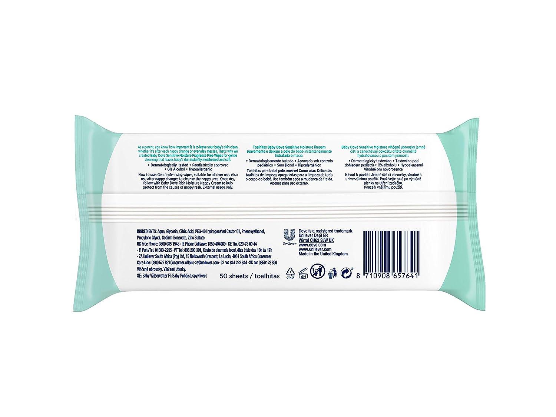 Total 600 toallitas Pack de 12 x 50 Toallitas h/úmedas Baby Dove hidrataci/ón profunda