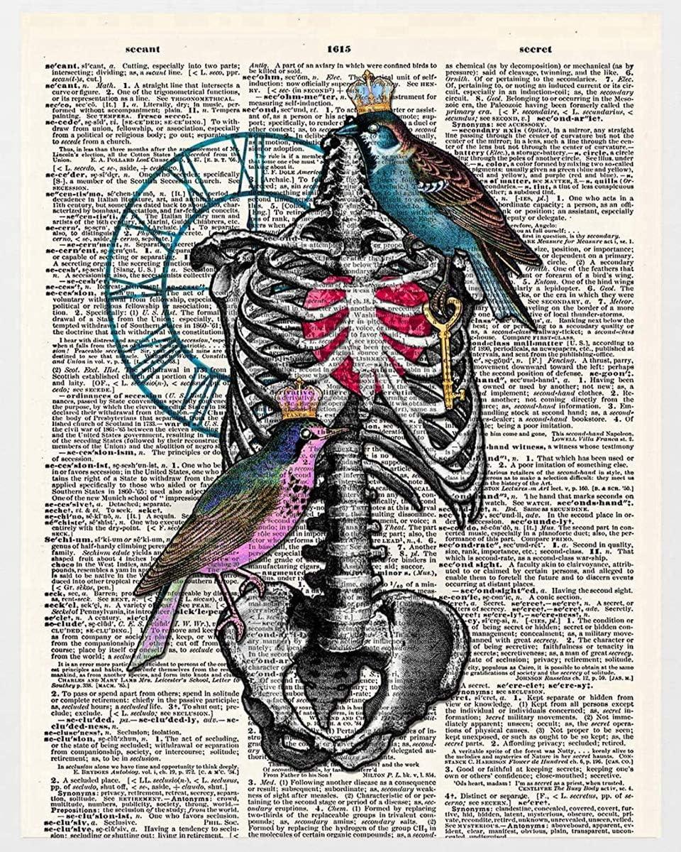 Pintura por números para niños Adultos Diy lienzo preimpreso, Arte creativo costilla esqueleto pájaro Pintura al óleo pintada a mano de Arte Decoración del hogar para un amigo de Regalo de juguete
