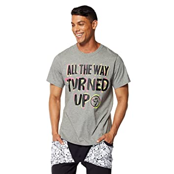 Zumba Fitness® Turned Up - Camiseta para Unisex, Color Gris, Talla XS/