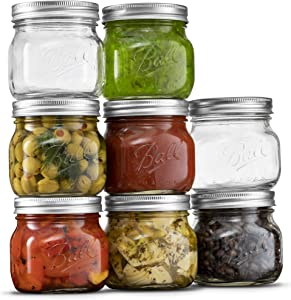 Ball Wide Mouth Mason Jars 16 oz [8 Pack] with Airtight lids and Bands. For Canning, Fermenting, Pickling, Decor - Freezing, Microwave And Dishwasher Safe. Bundled With SEWANTA Jar Opener