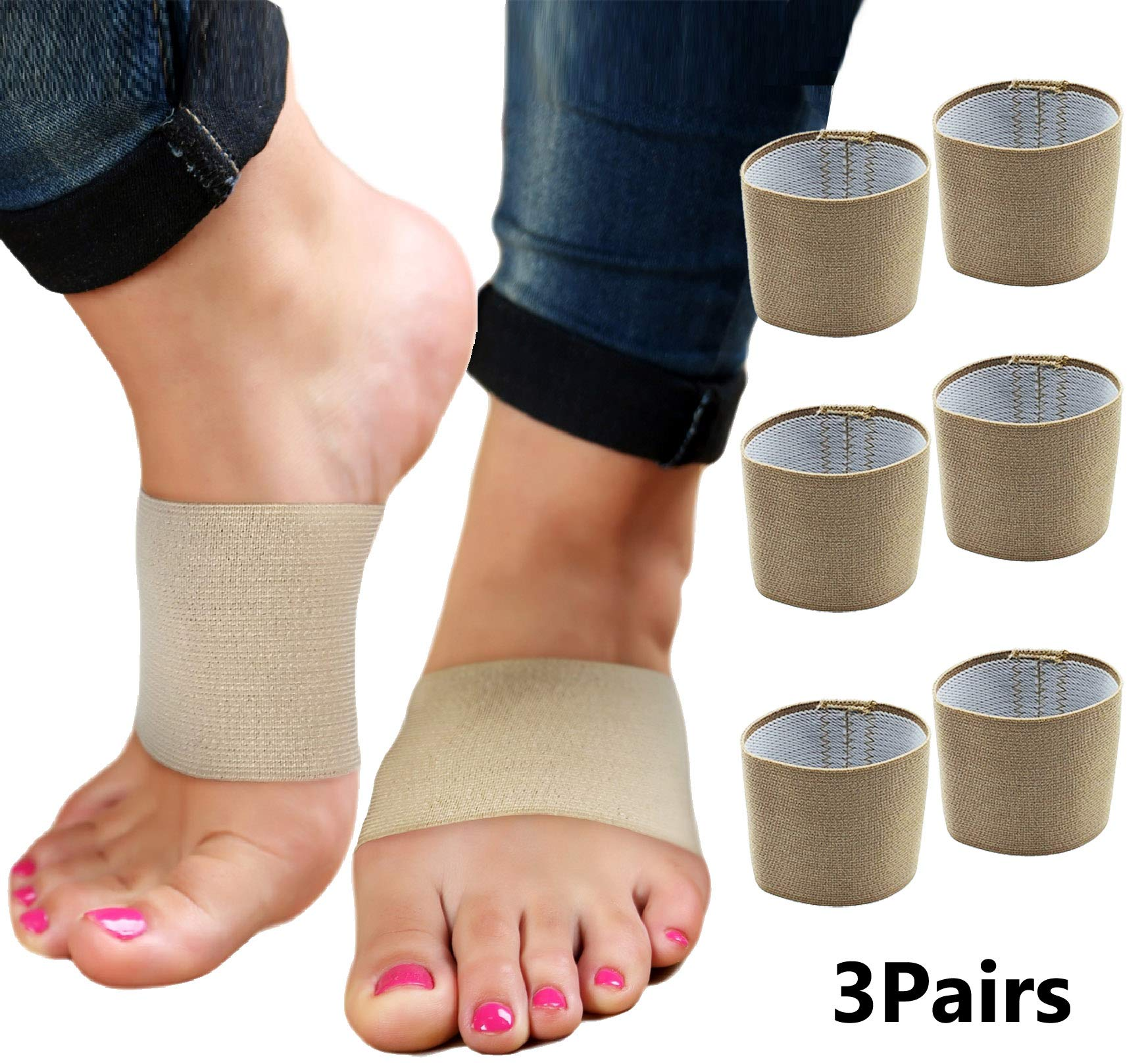 Plantar Fasciitis Brace Arch Supports - Arch Brace for Foot & Heel Pain Relief. Compression Sleeves Help Sore Heels, Bone Spurs, Flat Feet or High Arches Copper Infused Bands Plantar Fasciitis (Beige) by ARMSTRONG AMERIKA