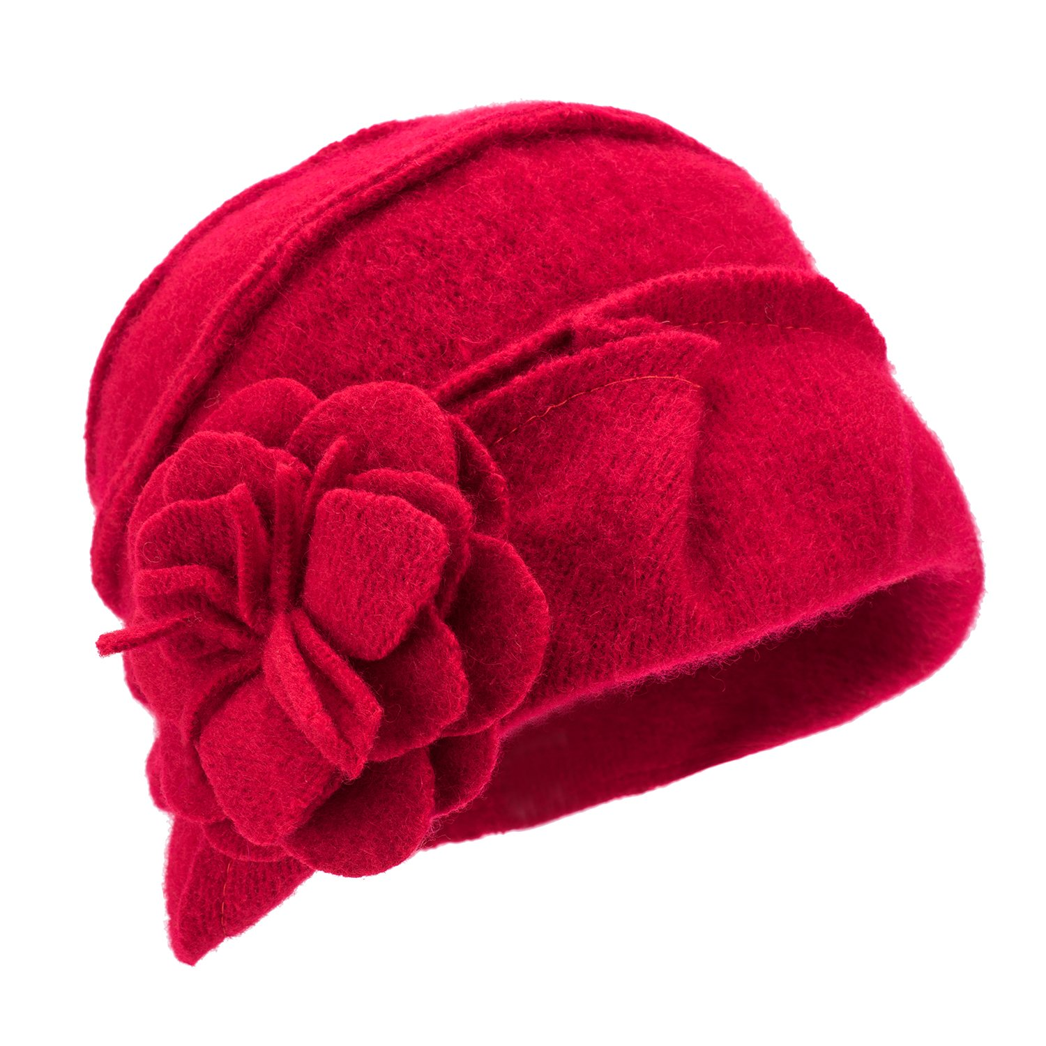 Lawliet Solid Color 1920s Womens 100% Wool Flower Winter Bucket Cap Beret Hat A376 (Red)