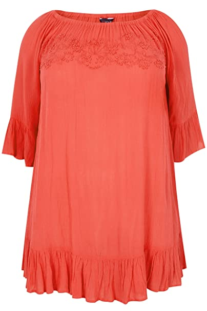 cc5ed8643b8e4 Yours Women s Plus Size Coral Bardot Gypsy Top with Beaded Details   Flute  Sleeves Size 16