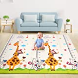 Baby Play Mat, 0.6IN Thick Playmat Folding Reversible Baby Mat with Carry Bag, Non-Toxic Soft XPE Foam Crawling Mat for Baby,