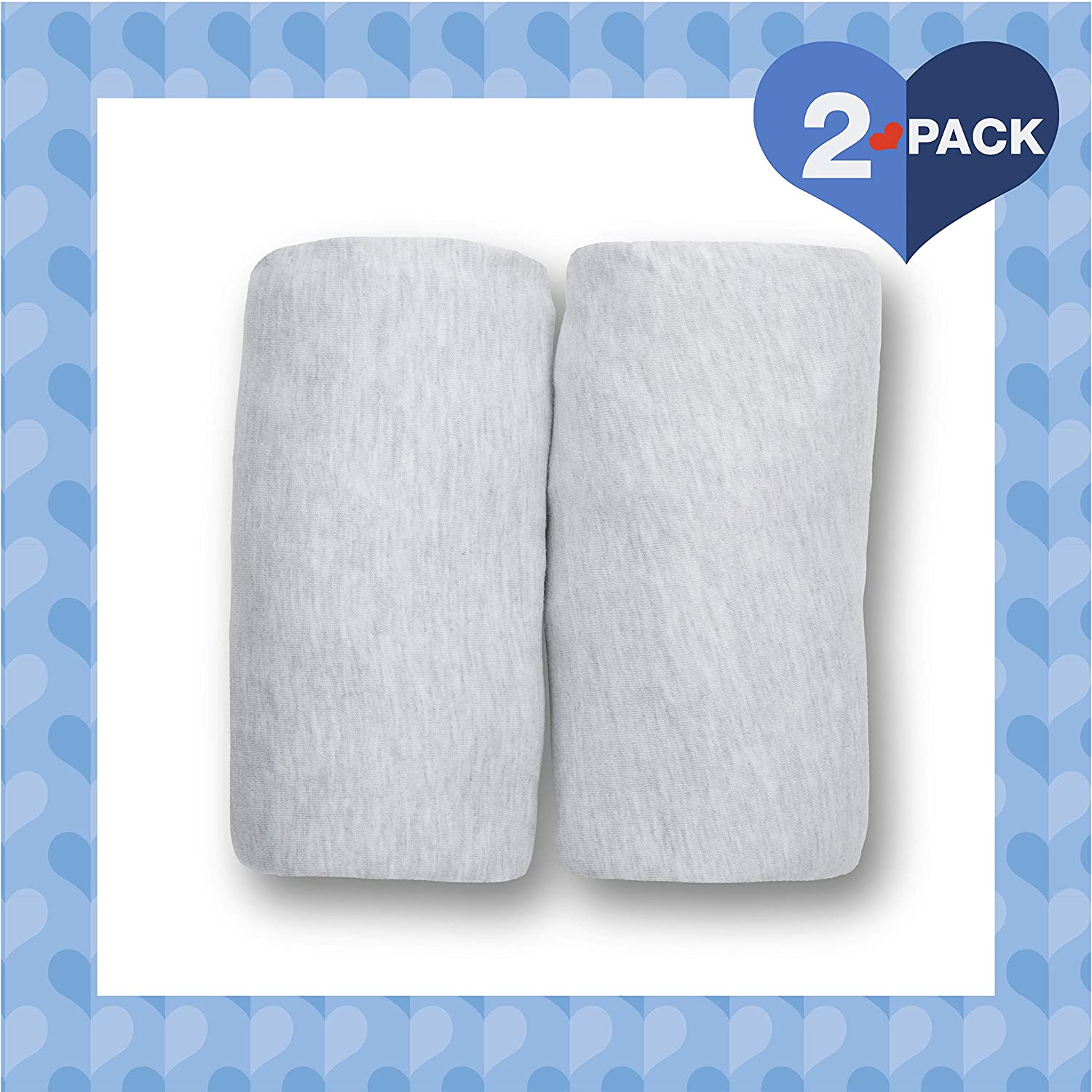 Delta Children Changing Pad Covers – 2 Pack | Solid Color | 100% Jersey Knit Cotton | Fits Standard Changing Pads, Heather Grey