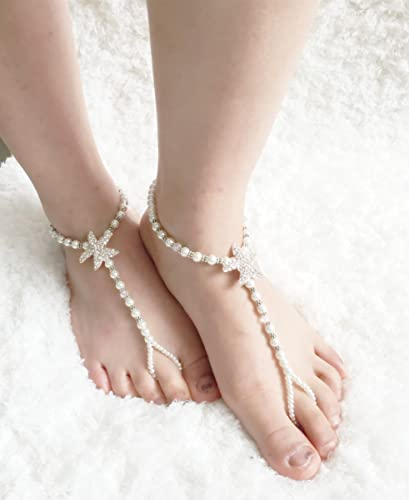 d90a1adc14eb Image Unavailable. Image not available for. Color  CRYSTALLIZED Barefoot  Sandals Bridal Foot jewelry Beach Wedding ...