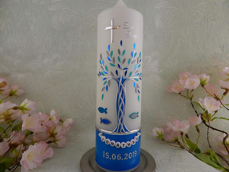Taufkerze Lebensbaum silber mint blau handmade Wachs Taufkerzen f/ür Junge M/ädchen 250//70 mm mit Name und Datum