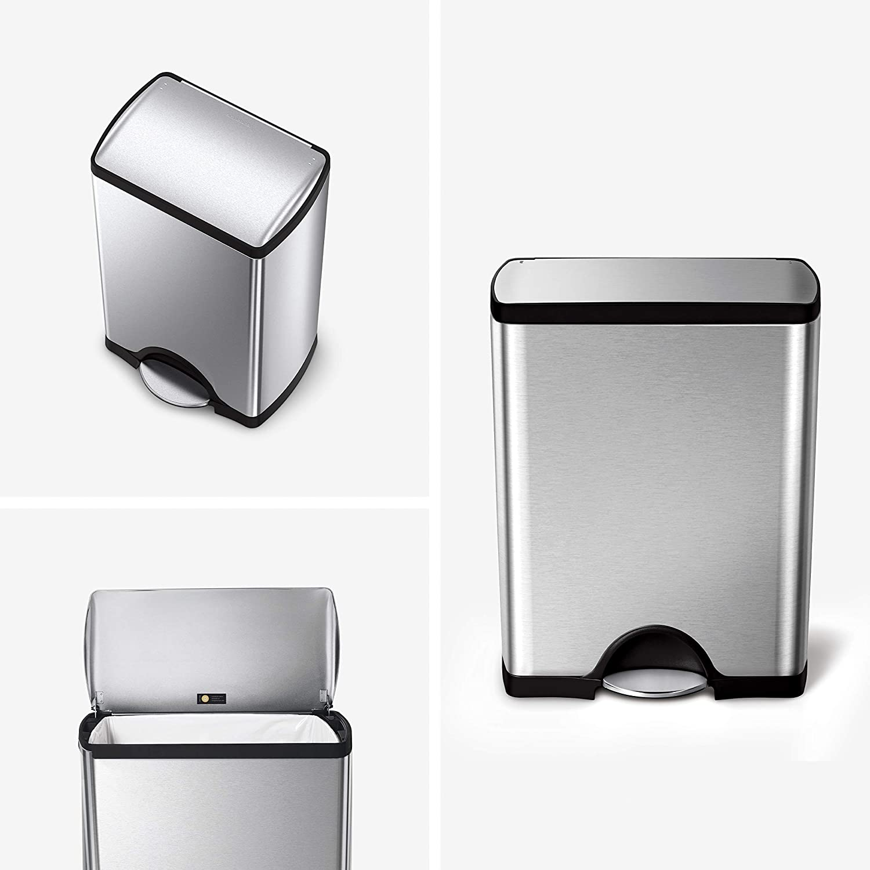 simplehuman 50 Liter / 13.2 Gallon Rectangular Kitchen Step Trash Can, Brushed Stainless Steel: Home & Kitchen