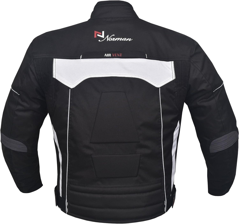 Norman Schwarz Männer Jacke Motorrad Wasserfeste Textil Cordura Mit Ce Verstärkt Schwarz L Bekleidung