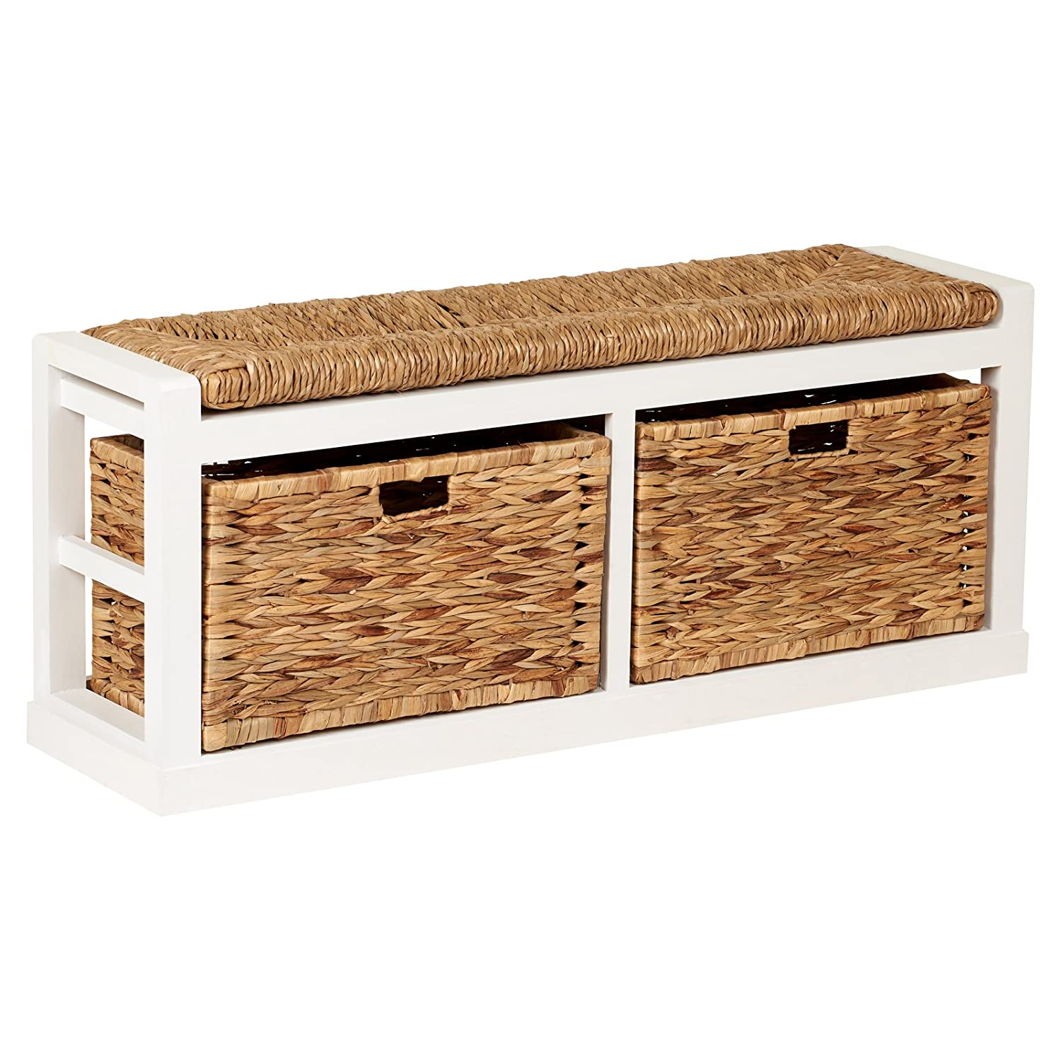 Hartleys Extra Wide 2 Drawer Storage Bench with Wicker Cushion & Baskets