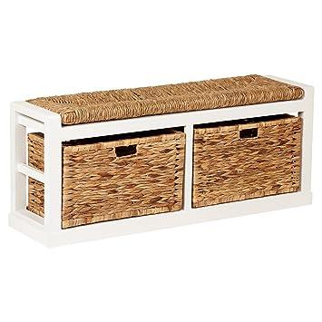Hartleys Extra Wide 2 Drawer Storage Bench With Wicker Cushion U0026 Baskets