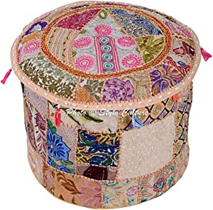Stylo Culture Round Ethnic Cotton Ottoman Pouf Cover Patchwork Embroidered Beige Floral Pouffe Furniture Stool Indian 45 cm Footstool Floor Cushion Decor Bean Bag Living Room