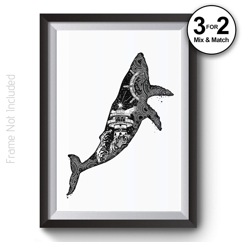 Whale Wall Art Print on 100/% Cotton Paper Ocean Seaside Artwork Nautical Lighthouse Double Exposure Black /& White Art prints