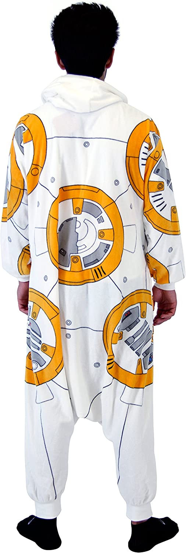 Adult Men/'s Star Wars BB8 Droid Polyester One Piece Zip Up Pajama Kigurumi