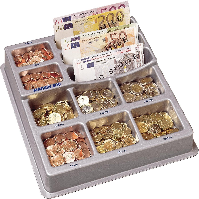 Vassoio Portamonete Euro in Plastica per Cassa//Cassetto//Bancone 26.4x16.5x39 cm