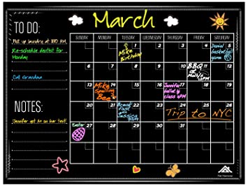 Large Chalkboard Wall Calendar Planner by Flat Harmony - Weekly and Monthly Organizer - 23 x 18 - For Office, Kitchen and Refrigerator Erasable ...