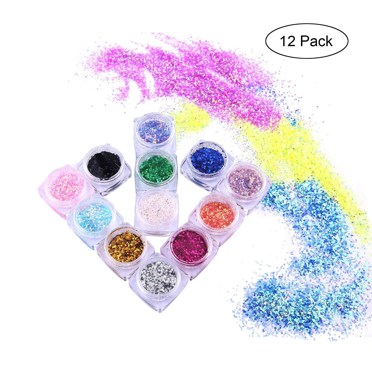 Body Glitter, Leegoal Chunky Holographic Glitter for Face Hair Nail Arts/Music Festival/Wedding/Party/Child's Fun Craft/Christmas (12 Pack)