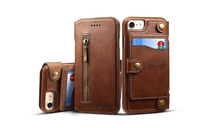Amazon iphone 8 plus7p case leathertacoo zipper credit card iphone 8 plus7p case leathertacoo zipper credit card business card holder money colourmoves