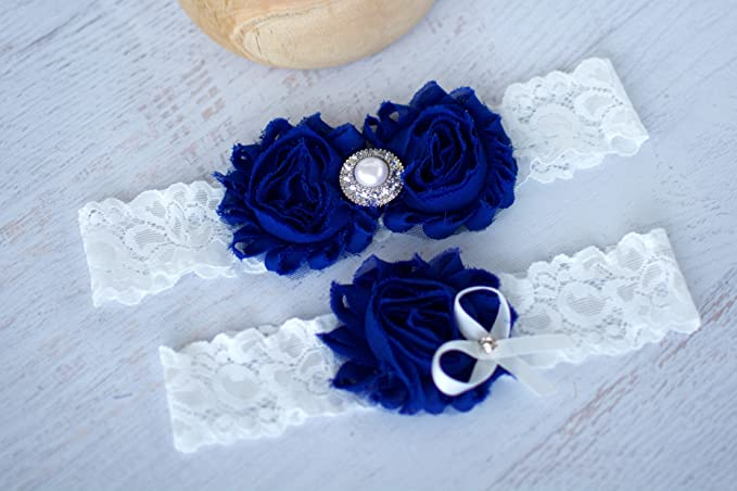 New York Yankees White and Royal Blue Wedding Garters set any style and size