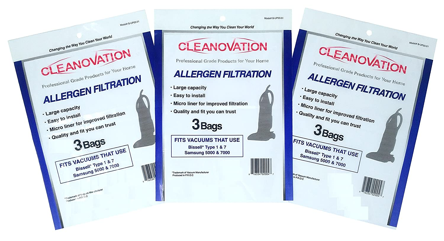 CLEANOVATION - BISSELL Upright Style 1 & 7 + Samsung 5000 + 7000 Upright Vacuum Cleaner Bags (9 Micro Lined Allergen Bags per Package) B-UP03-01-3