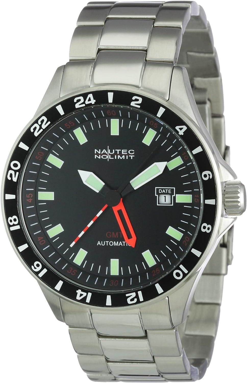 Nautec No Limit Racing 2 - Reloj analógico de caballero automático con correa de acero inoxidable plateada - sumergible a 100 metros