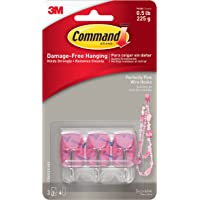 Command Wire Hooks, Small, Perfectly Pink, 3-Hooks (17067CLR-PES)