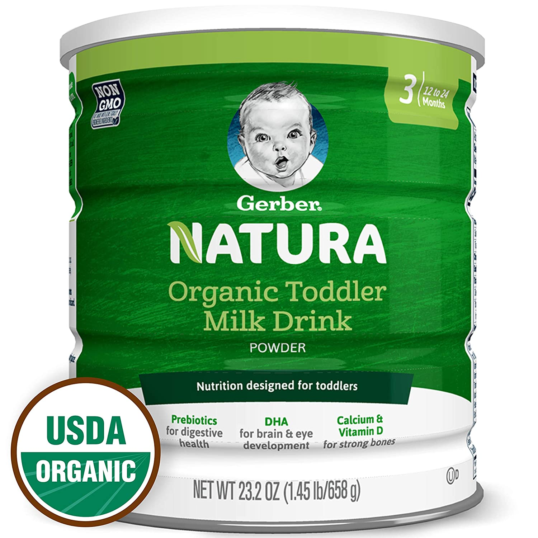 Gerber Natura Organic Toddler Formula Milk Powder, Stage 3, 23.2 Oz. Can